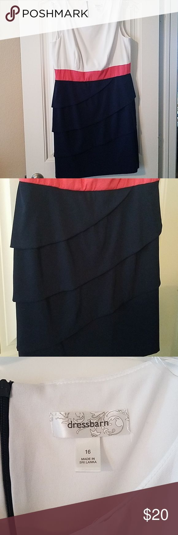 Dress for work, wedding or any event White, coral and navy blue dress with tiere…