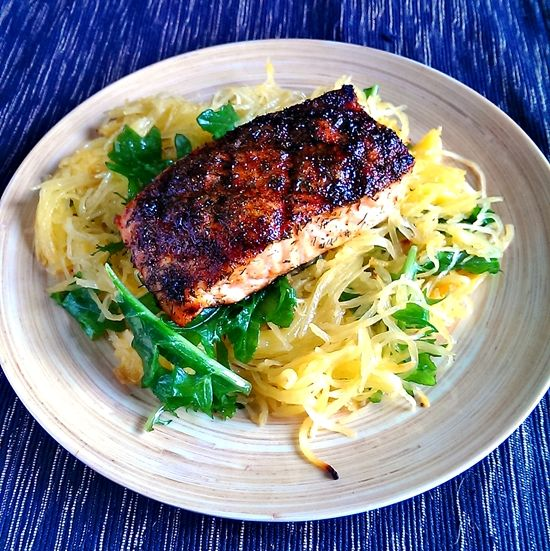 Blackened salmon and spaghetti squash.  Omit honey and sugar.