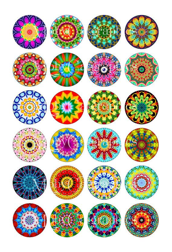 Bright Kaleidoscope Digital Collage Sheet 12mm by MobyCatGraphics