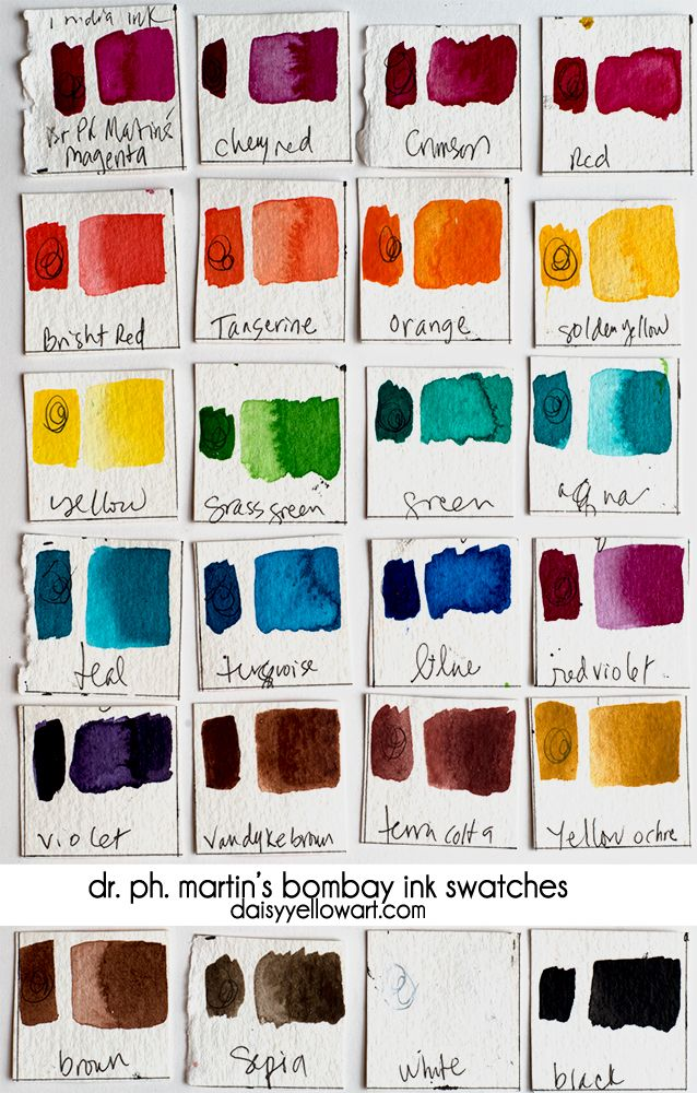 Review + color chart swatches; Dr. Ph. Martin's Bombay india inks. https://daisyyellowart.com #drphmartins #indiaink #swatch #colorchart