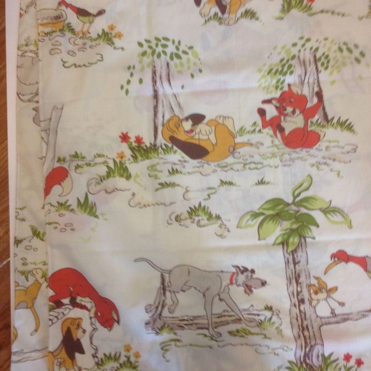 Vintage Fox and the Hound Disney Twin Flat Bed Bedding Sheet Todd Copper