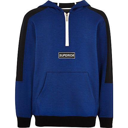 Boys blue block zip hoodie £20.00