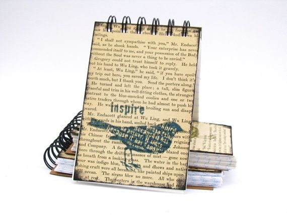 Denim Blue Inspire Bird Spiral Bound Notebook/ by PearTreePapers, $3.95
