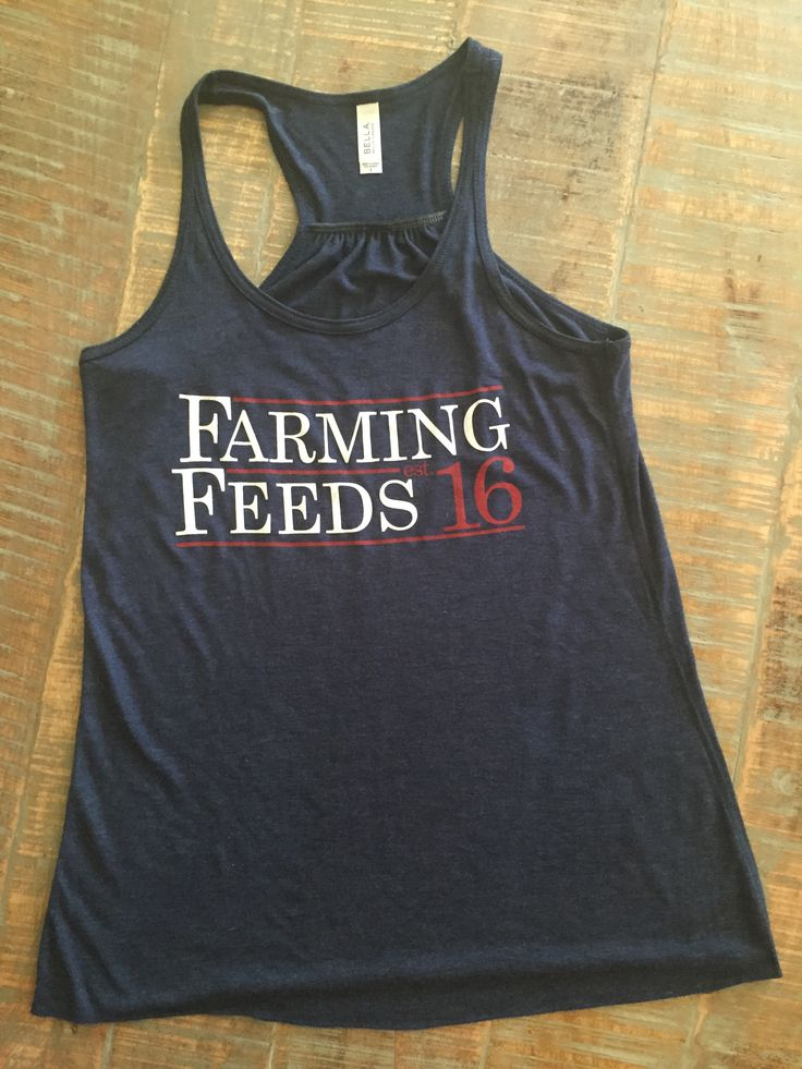 Tank--Bella+Canvas Navy Tank with Red and White Farming Feeds est 16 Design on front