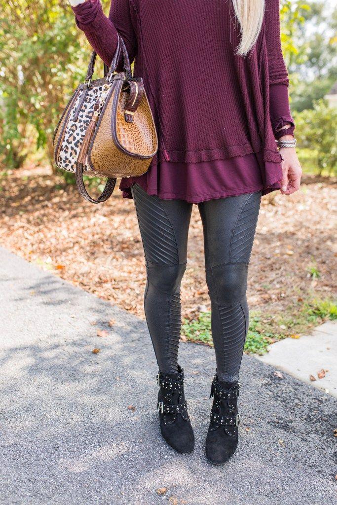 favorite faux leather moto leggings, fall fashion, Spanx leggings