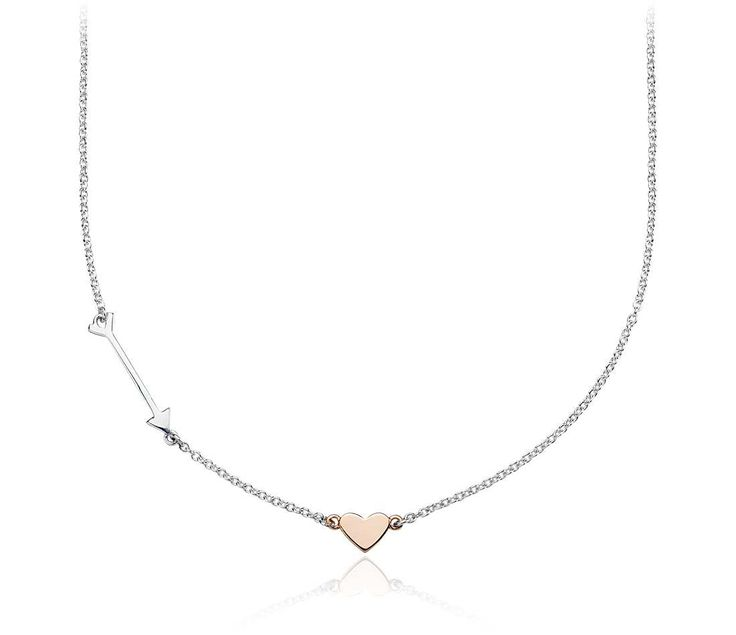 Heart and Arrow #Necklace in Sterling Silver and Rose Gold #Jewelry