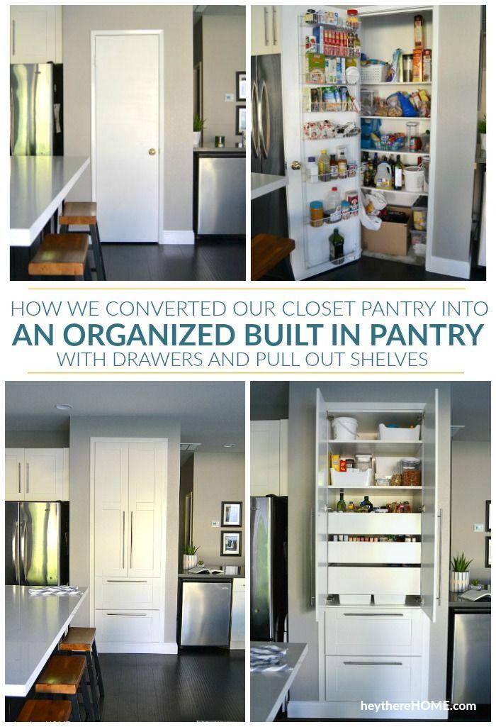 Diy Pantry Remodel Old Pantry Closet Turned Built In Pantry Cabinet Pantry Remodel Built In Pantry Pantry Drawers