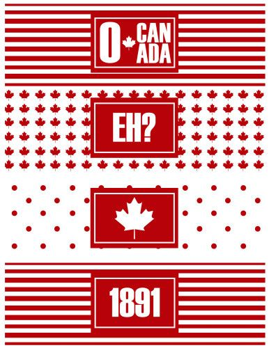 1st of July printable water bottle labels for Canada Day. I'm curious about the 1891 label - she doesn't explain it, and as far as I know it isn't relevant.