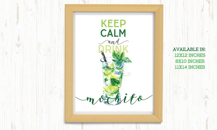 Keep calm and Drink Mochito Printable, Mochito Printable, Bar Printable, Kitchen Printable, Summer Printable, Drink printable, Wall Art by ThePrintableCorner on Etsy