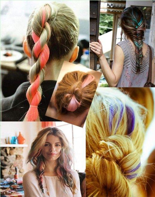 highlights, capelli colorati, treccia, chignon