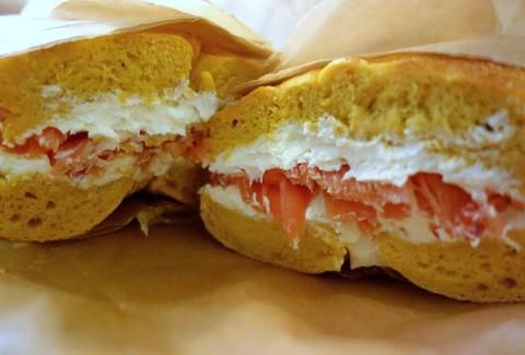 bagel with cream cheese and lox brooklyn bagel company chelsea nyc new york city