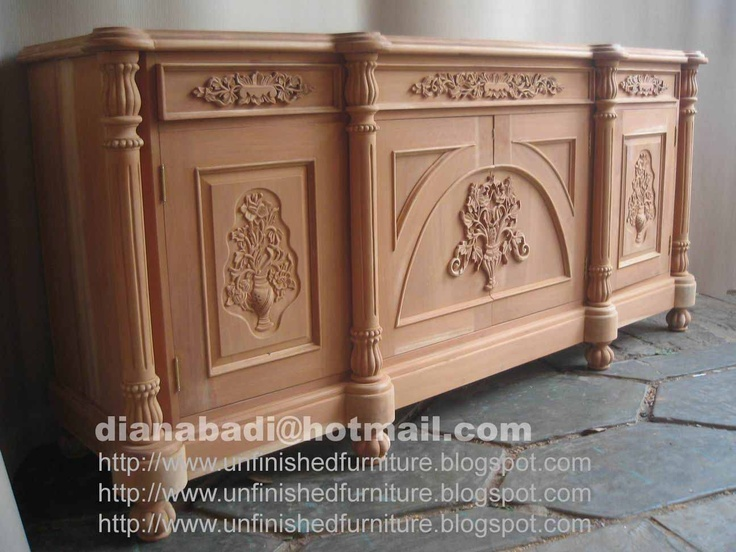 Unfinished mahogany Furniture,  Medio Punto wooden sideboard , made of fine solid kiln dry mahogany wood. Present in unfinished furniture condition ( raw furniture, ready to painted or no color stain finished ). Please contact us Antiques Indonesian Furniture supplier, French style furniture, Italian style furniture, English style furniture : Email :dianabadi@hotmail.com Facsimile & Phone : + 62 291 591187  www.unfinishedfurniture.indonetwork.co.id