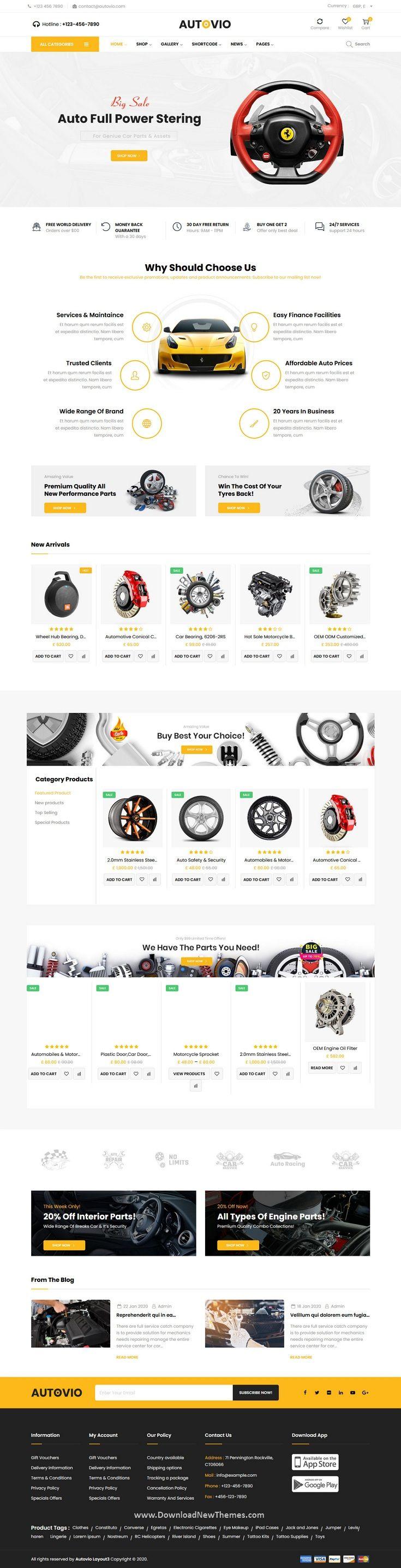 Autovio   Car Accessories WooCommerce Theme   Woocommerce themes ...