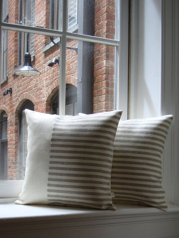 Minimal Striped Linen Pillow Cover by #JillianReneDecor