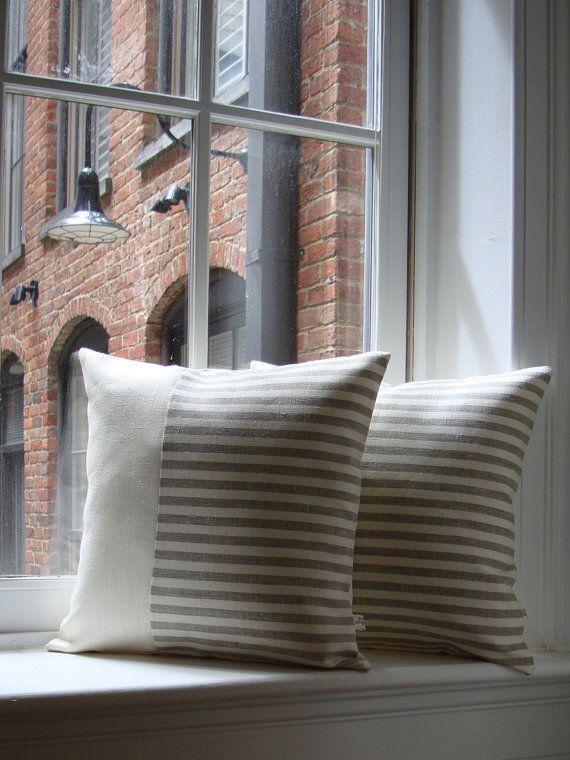 Minima a righe copertina cuscino di lino 16 x di JillianReneDecor