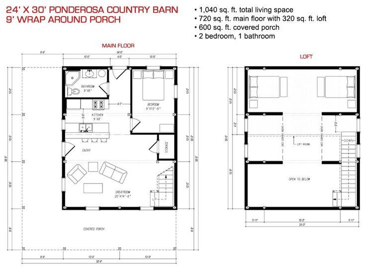 24x30 floor plan pre designed ponderosa barn home kit for Pre designed home plans