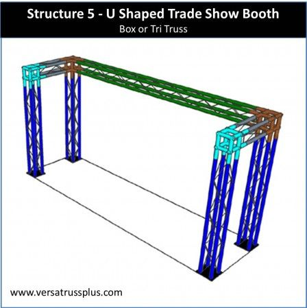 10' U shaped trade show booth kits. Our 10' U shaped exhibit kit comes with all of the truss components and hardware to erect a complete 10' U shaped display booth. Our lightweight aluminum truss 10' U shaped booth kit is economical to purchase, designed for longevity and is completely modular in design allowing you to increase the size of your 10' U shaped exhibit kit at any time.