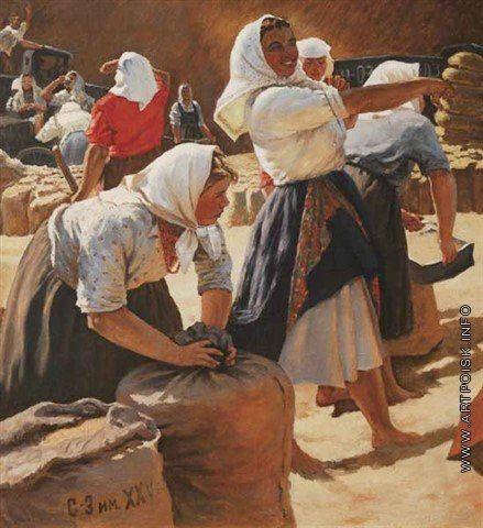 Яблонская Татьяна Ниловна [1917—2005] Сбор урожая пшеницы на новых землях. 1950-е