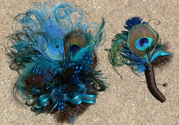 Teal and Brown Corsage Wristlet and Boutonniere set to match with Peacock and coordinating Feathers Ready to Ship. $48.00, via Etsy.