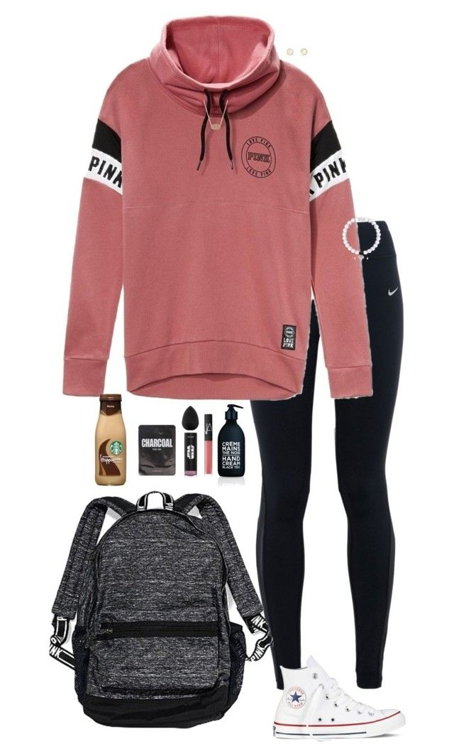 """""""School"""" by halledaniella ❤ liked on Polyvore featuring NIKE, Victoria's Secret PINK, La Compagnie de Provence, NARS Cosmetics, beautyblender, Charlotte Russe, Kendra Scott, Converse and Victoria's Secret"""