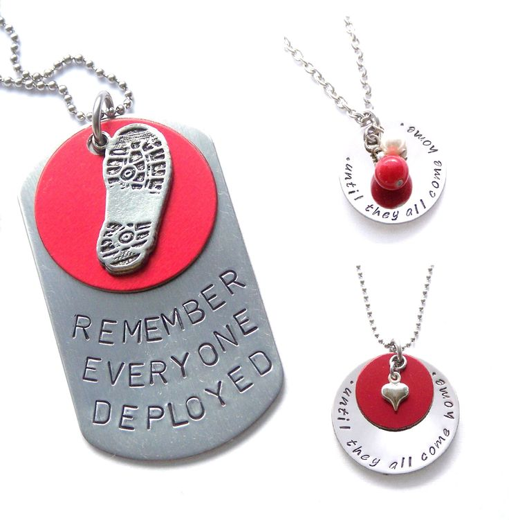 """Remember Everyone Deployed"" Personalized Necklaces - Wear RED Fridays - Military Jewelry"