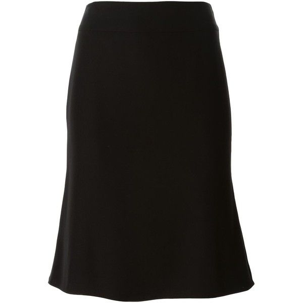 Armani Collezioni Trumpet-Style Skirt (£210) ❤ liked on Polyvore featuring skirts, black, black skirt, trumpet skirt, black trumpet skirt, armani collezioni and black knee length skirt