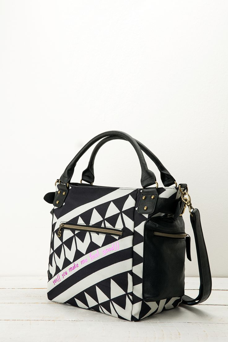 This messenger bag with four pockets can also be used with a strap. It's  black
