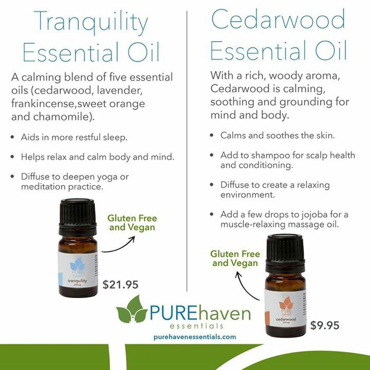 PURE Haven Essentials Organic Essential Oils - Cedarwood and Tranquily www.BuyPHE.com