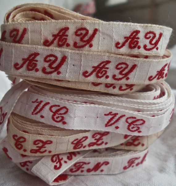 French Laundry Tape Woven Monogrammed Laundry Label by BrocanteArt