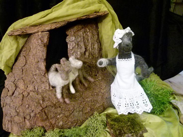 Der Wolf u. die 7 Geißlein, Märchen,gefilzt von Sandras Wunderland auf DaWanda.com
