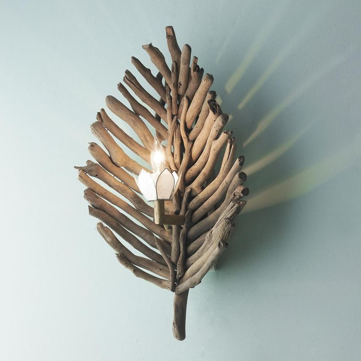 Driftwood Leaf Wall Sconce
