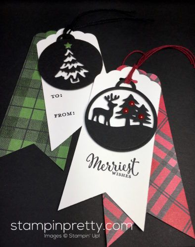 Merriest Wishes & Merry Tags Framelits Dies holiday tags created by Mary Fish, Stampin' Up! Demonstrator.  1000+ StampinUp & SUO card ideas.  Read more http://stampinpretty.com/2016/11/anything-card-blog-hop.html