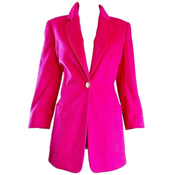Preowned Vintage Escada By Margaretha Ley Hot Shocking Hot Pink Angora... ($750) ❤ liked on Polyvore featuring outerwear, jackets, blazers, pink, wool jacket, pocket jacket, collar jacket, hot pink blazers and escada blazer