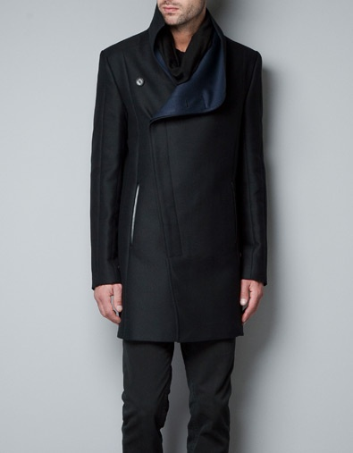 Mens coat | zara: You, Mens Style, Men S Fashion, Leather Collar, Collars, Men S Coats, Faux Leather, Men Coats