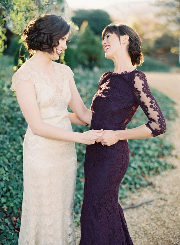 Plum lace bridesmaid dress by Alice and Olivia
