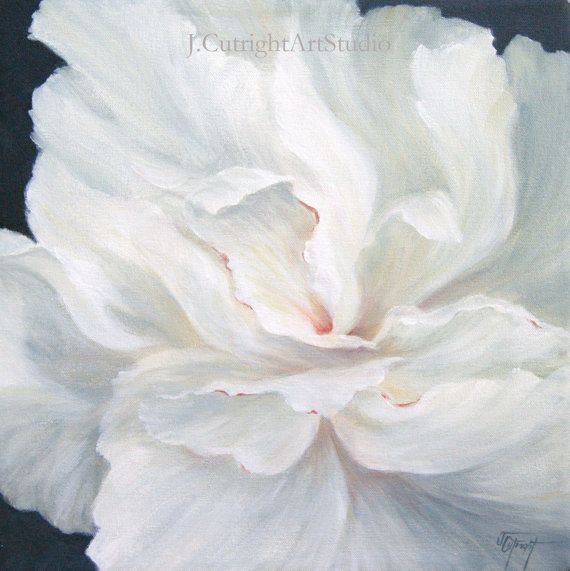 Original Acrylic Painting of White Peony Flower on 14x14 ...