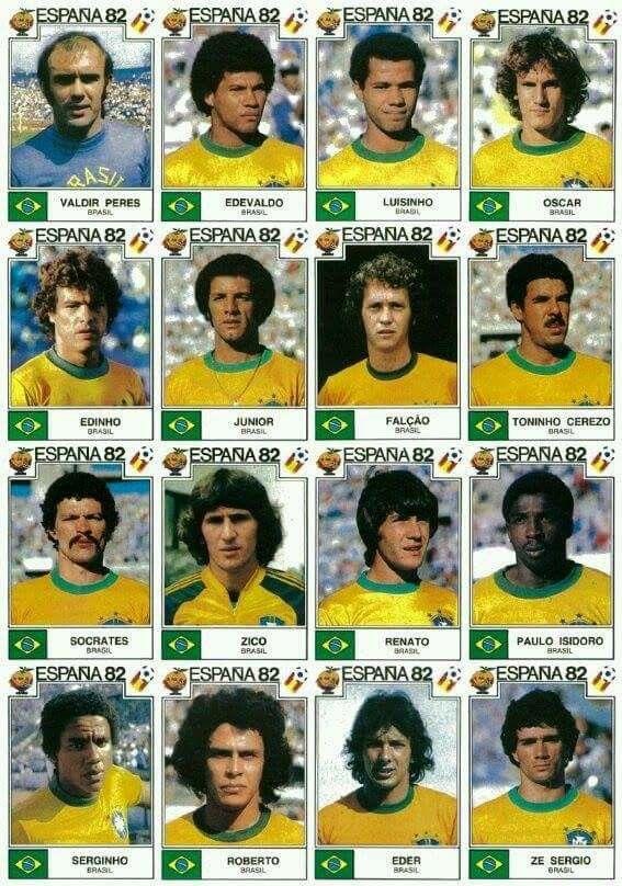Seleção Brasileira de 1982. Figurinhas da equipe na Copa do Mundo da Espanha em 1982.