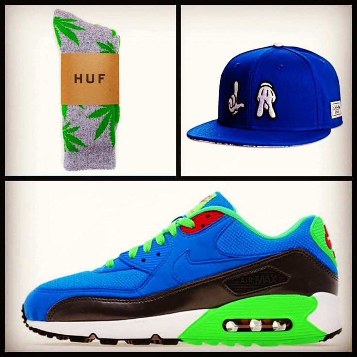 Huf Plant Life Grey/Green:  Cayler And Sons Good Kid Snapback:  Air Max 90 Photo Blue Poison Green
