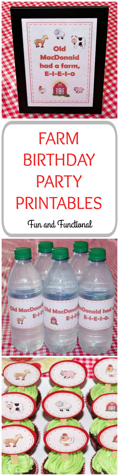 Farm, Birthday Party, Farm Theme, Free Printables, First Birthday, Cupcake Toppers, Farm Cupcakes, Water Bottle Wrappers, E-I-E-I-O, Farm Décor, Old MacDonald