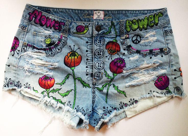 """poppy"" hand painted shorts by artfink. www.etsy.com.shop/artfink"