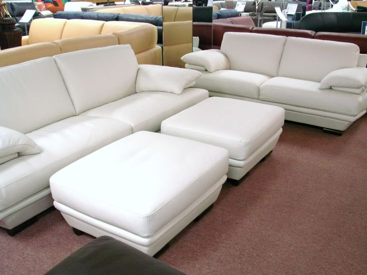 Natuzzi White Leather Sectional Sofa
