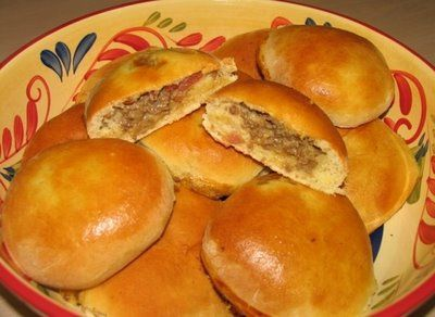 Cheeseburger or Bacon Cheeseburger Buns - I made these and they are addictively delicious!  I used frozen bread dough, plus instead of Velveeta, I used the Kraft Sharp Cheddar single slices, one per burger and they melted very nicely.  They tasted even better than the ones with Velveeta.