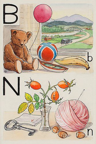 "ELSA BESKOW, ""B-björn och N-nypon"". Signed E.B. From ""Vill du läsa I"", page 10, picture 15, 16.... - The Spring Classic Sale, Stockholm 562 – Bukowskis"