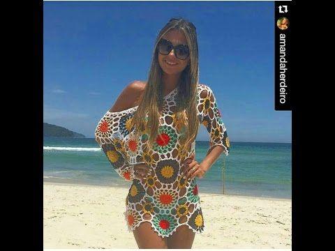 Saída de praia motivos coloridos 4 parte Viviane Santos - YouTube