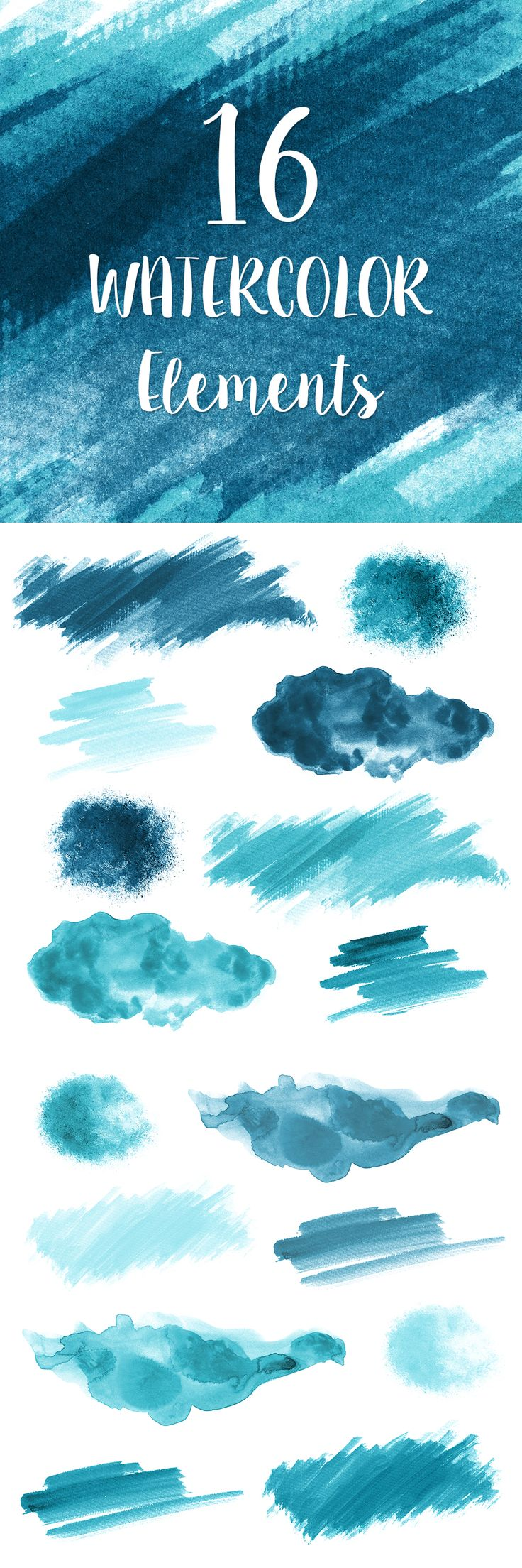 16 Blue Watercolor Splotches, Splatters and Brush Strokes; Blue Watercolor Clip Art, Transparent Background PNG; Watercolor Design Elements