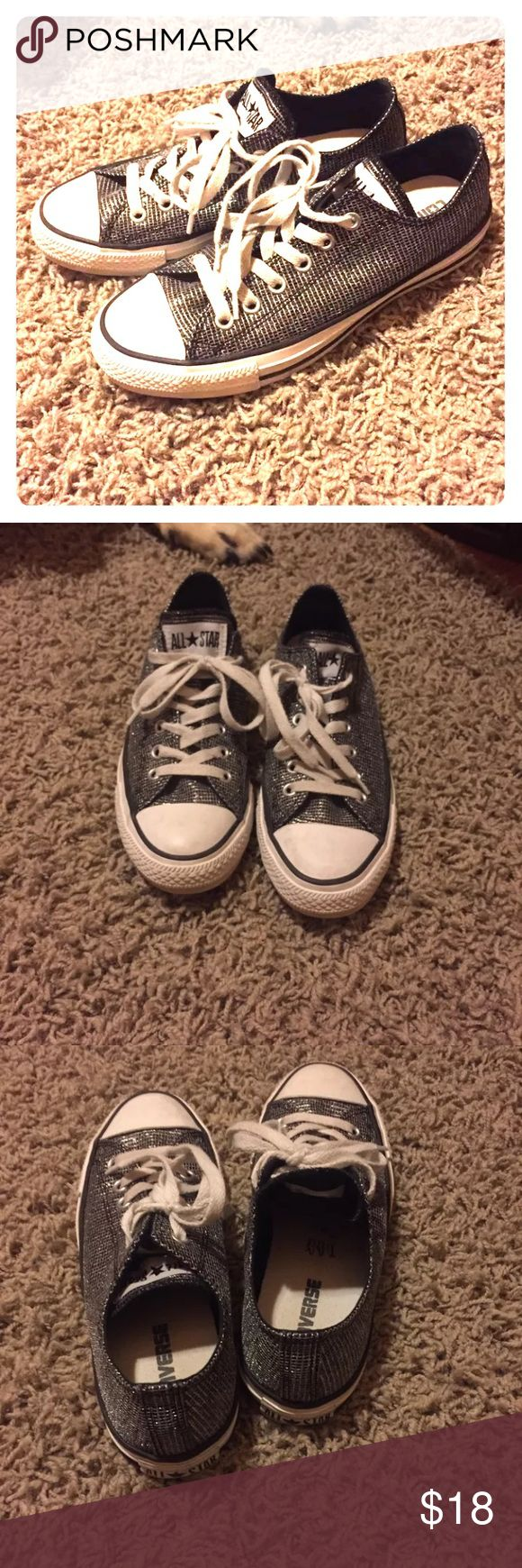 Converse Low top Rarely worn! Super cute. These are black with silver embroidered into it. Converse Shoes Sneakers