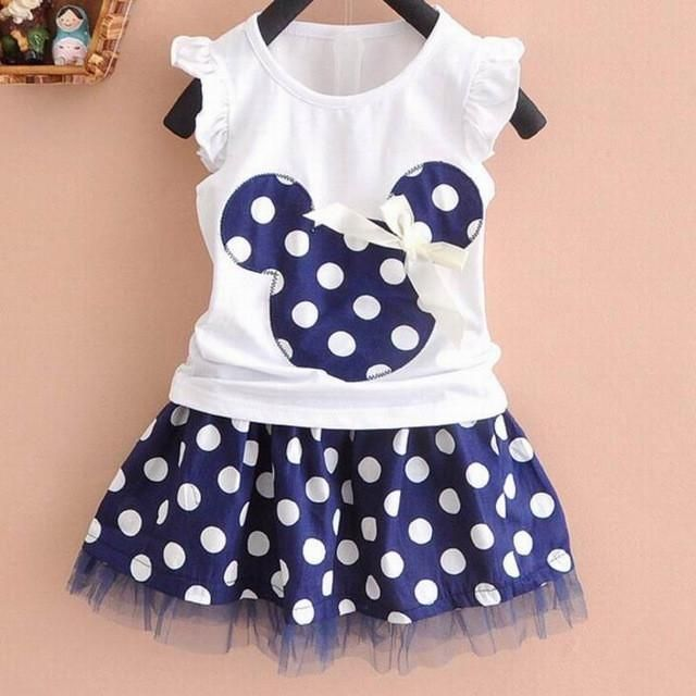 Hot Selling Baby's Girls Lovely Bow T Shirt + Dot Skirt Suit Set Dress Outfit