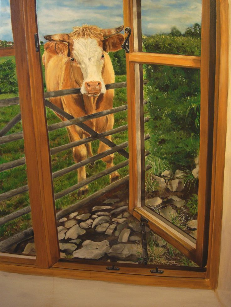 Cow looking through our window. Oil on canvas. Painted in 2008 by me