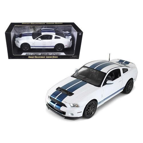 2013 Ford Shelby Cobra GT500 SVT White with Blue Stripes 1/18 Diecast Car Model by Shelby Collectibles