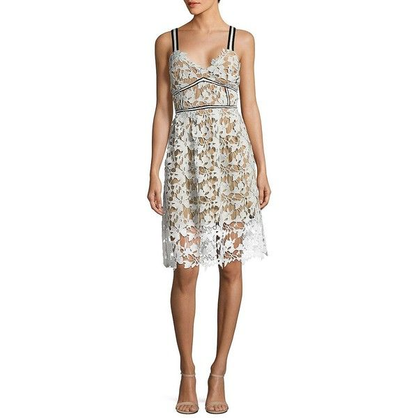 Design Lab Lord Taylor Womens Textured V Neck Lace Dress